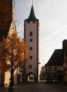 Ansicht auf Karlstadt am Main; Bereich oberes Tors